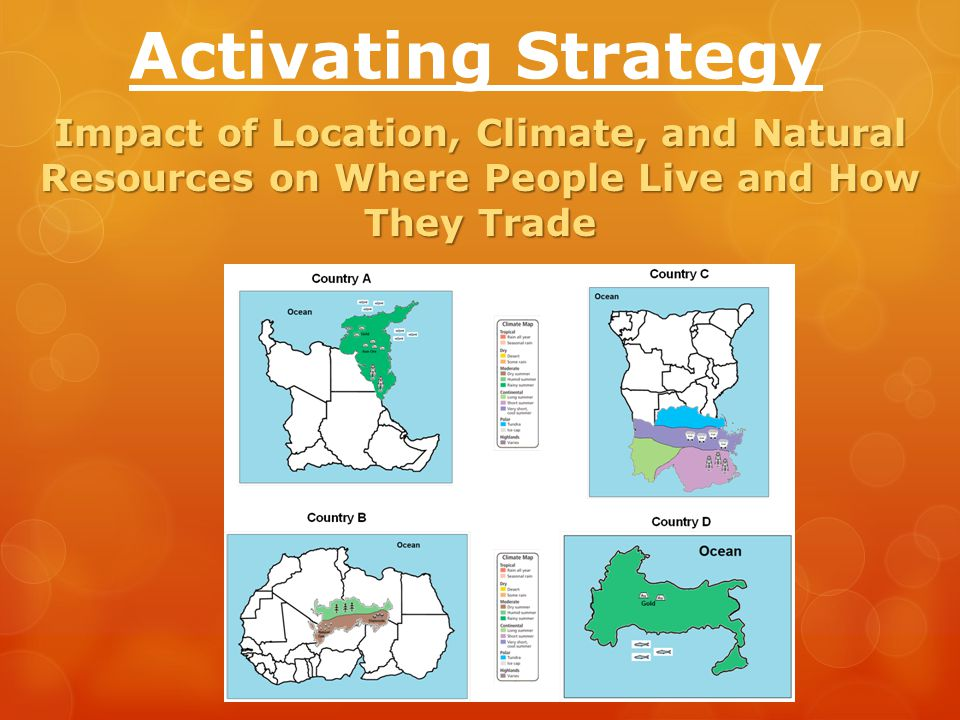 Activating Strategy Impact of Location, Climate, and Natural Resources on Where People Live and How They Trade.
