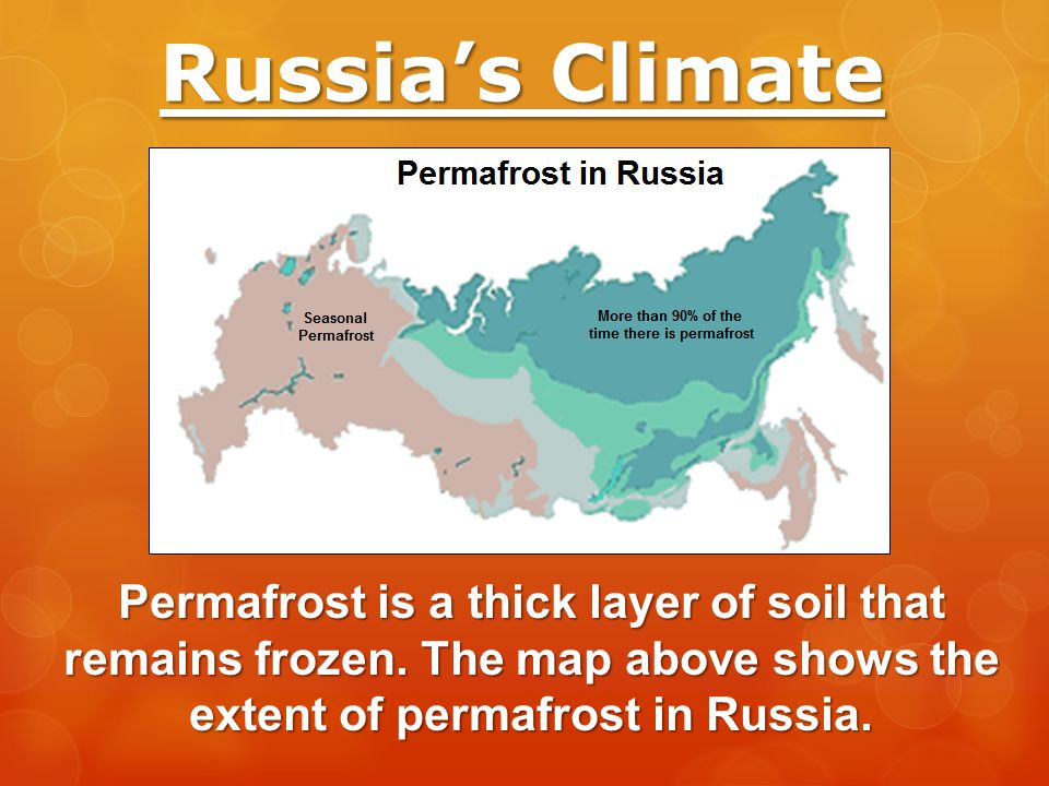 Russia's Climate Permafrost is a thick layer of soil that remains frozen.
