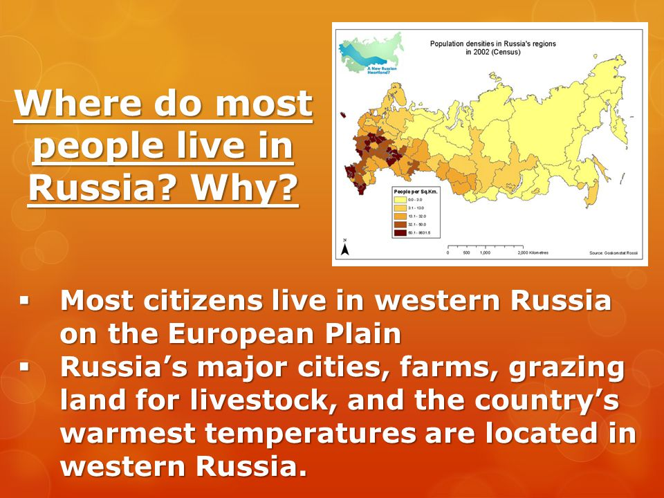 Where do most people live in Russia Why