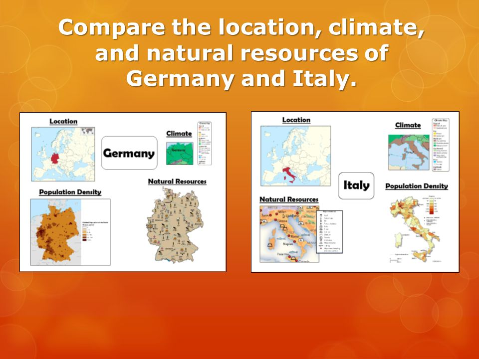 Compare the location, climate, and natural resources of Germany and Italy.
