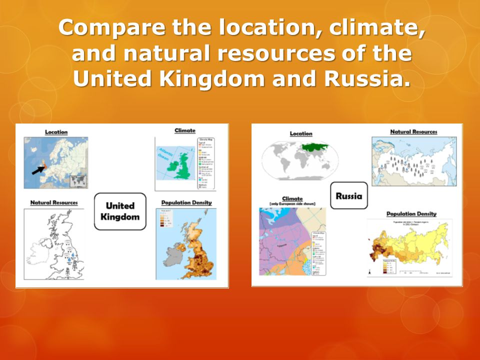 Compare the location, climate, and natural resources of the United Kingdom and Russia.
