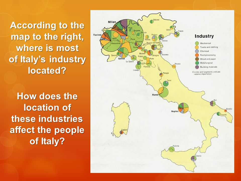 According to the map to the right, where is most of Italy's industry