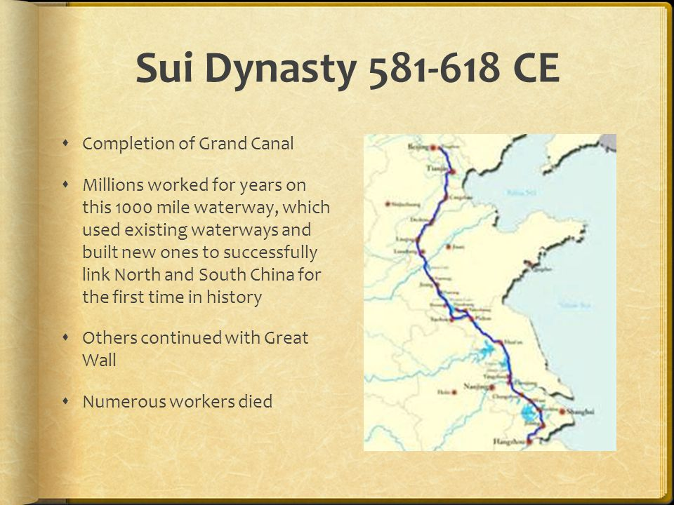 Sui Dynasty CE Completion of Grand Canal