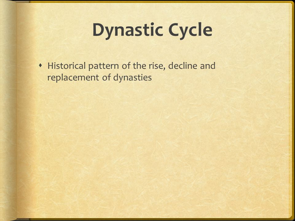 Dynastic Cycle Historical pattern of the rise, decline and replacement of dynasties