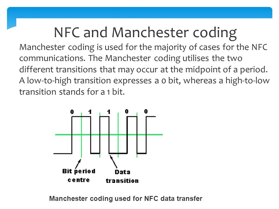 Manchester coding used for NFC data transfer