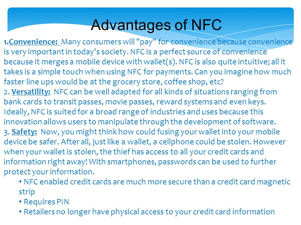 Advantages of NFC
