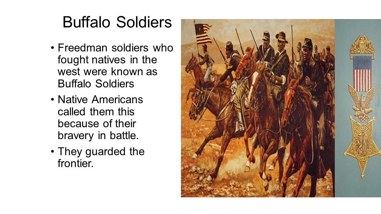 Buffalo Soldiers Freedman soldiers who fought natives in the west were known as Buffalo Soldiers.