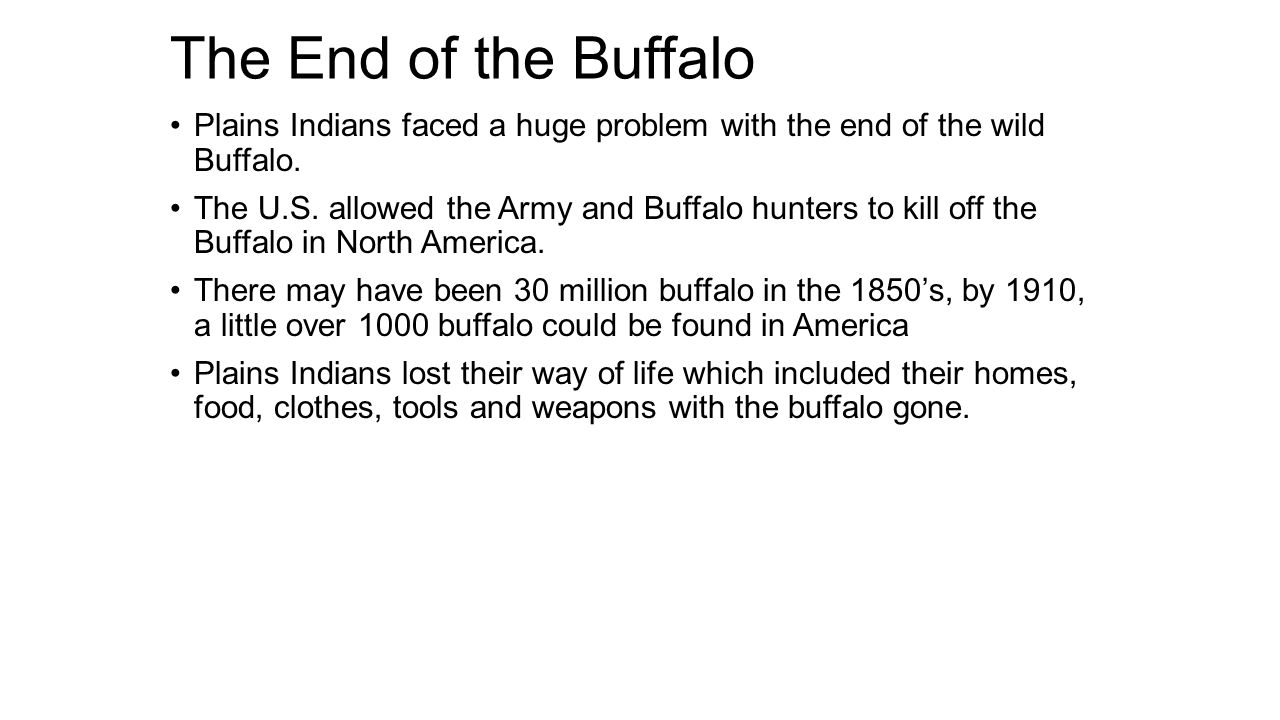 The End of the Buffalo Plains Indians faced a huge problem with the end of the wild Buffalo.