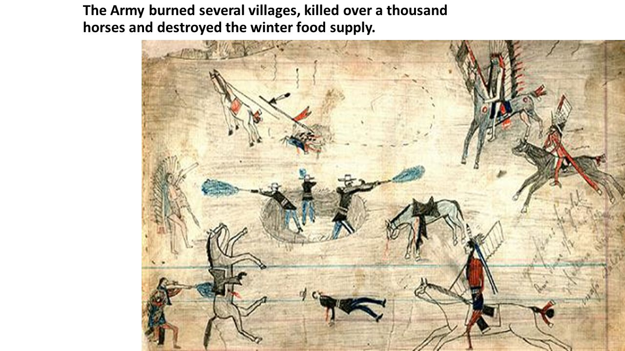 The Army burned several villages, killed over a thousand horses and destroyed the winter food supply.