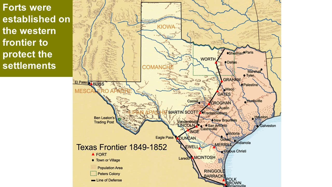 Forts were established on the western frontier to protect the settlements