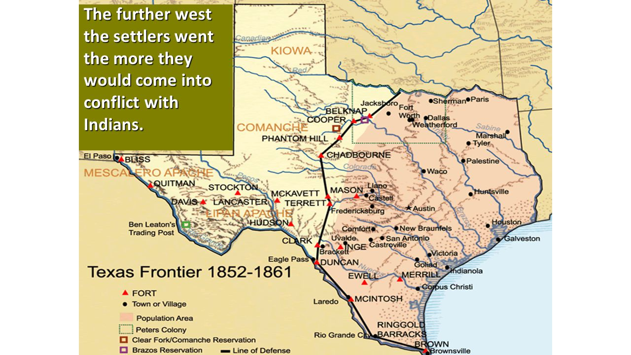 The further west the settlers went the more they would come into conflict with Indians.