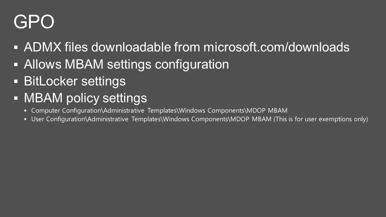 computer configuration administrative templates - bitlocker deployment using mbam is a snap ppt video