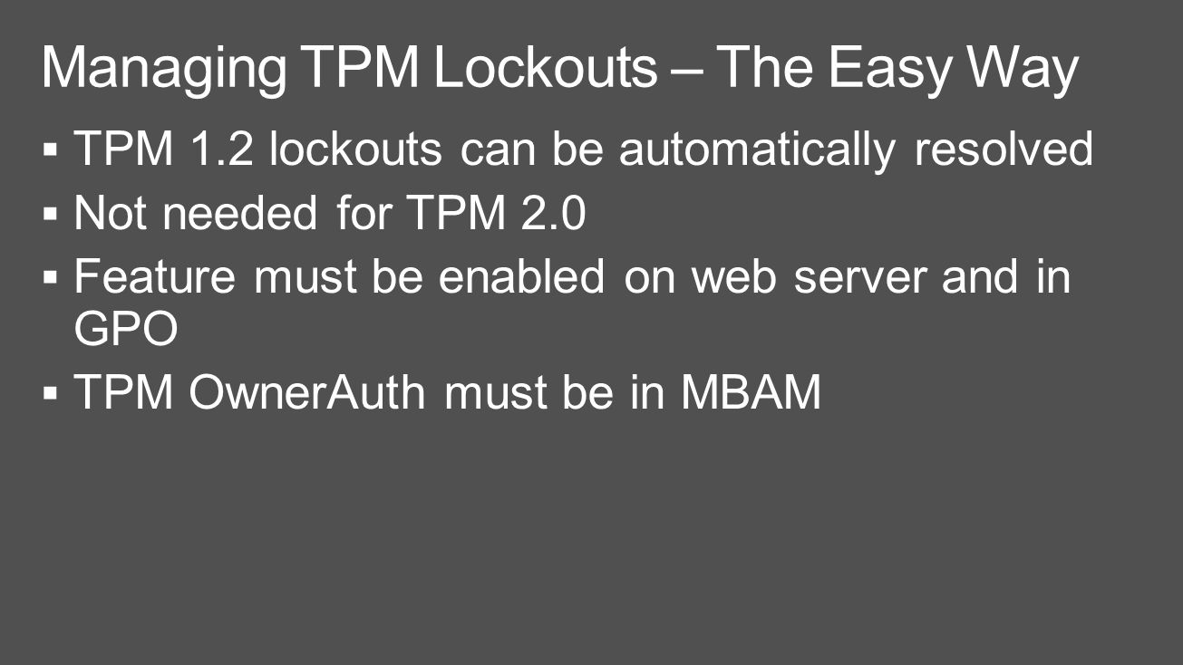 Manage tpm command line - 43 Managing