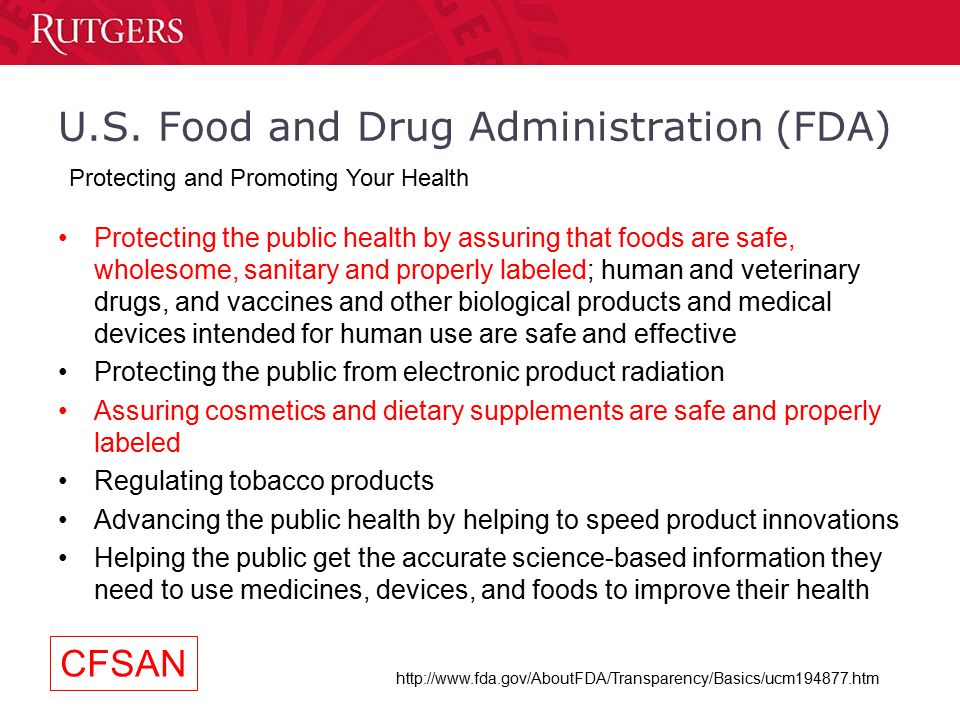 an introduction to the us food and drugs administration statistics The food and drug administration (fda) is an hhs agency that regulates clinical investigations of products under its jurisdiction, such as drugs, biological products, and medical devices fda regulations are published as part of chapter 21 of the cfr, and fda's human subject protection regulations are in parts 50, 56, 312 and 812.