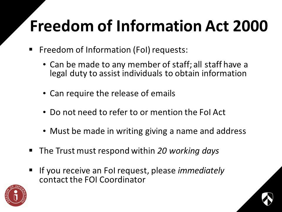 a report on the freedom of information act The freedom of information act (foia) provides for public access to records maintained or controlled by the occupational safety and health administration (osha) a foia request is a written request for records held by osha the written request need not specifically refer to foia.