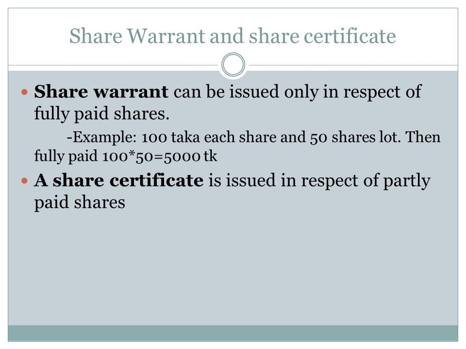 2nd Chapter outline Share Capital Share Classification Transfer