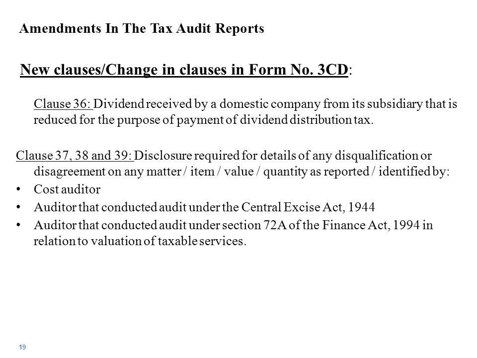 Amendments In The Tax Audit Reports