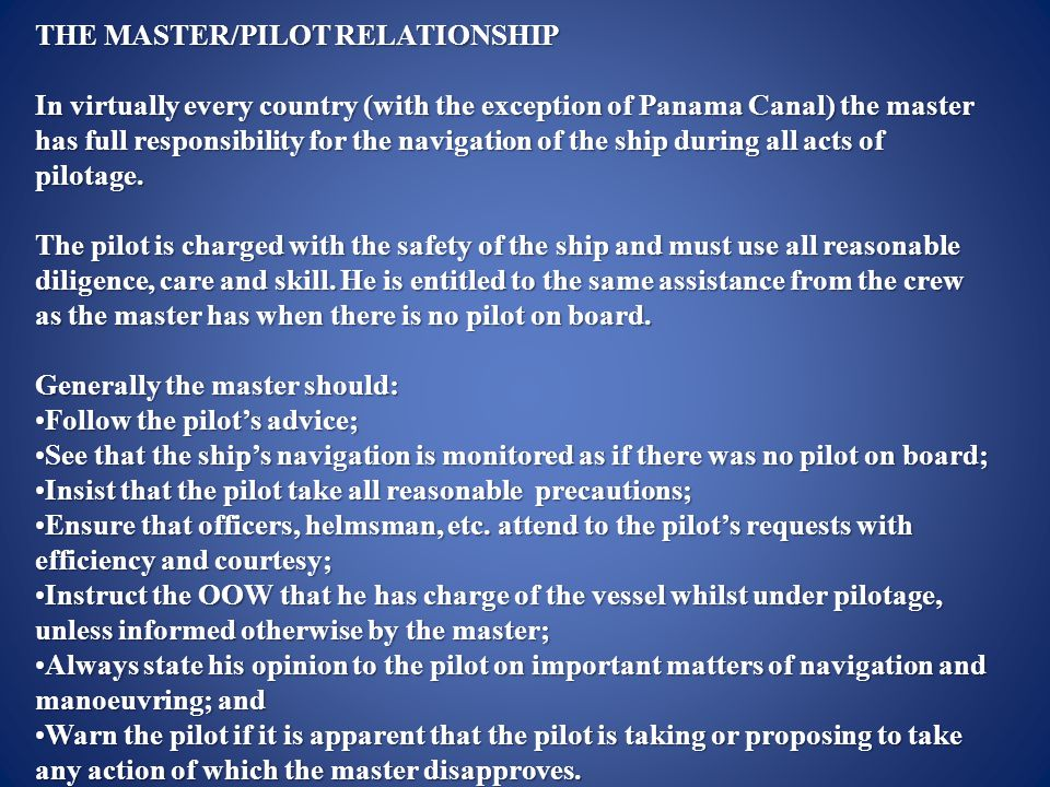 the master and pilot relationship
