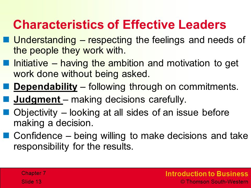 Characteristics of Effective Leaders