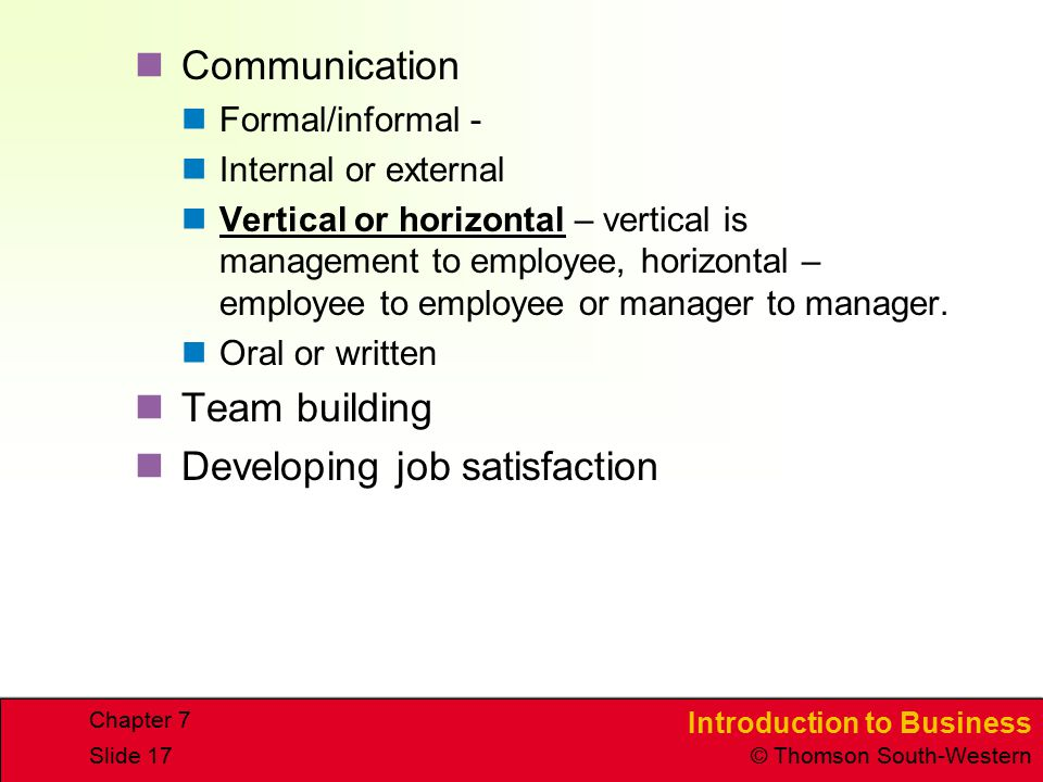Developing job satisfaction