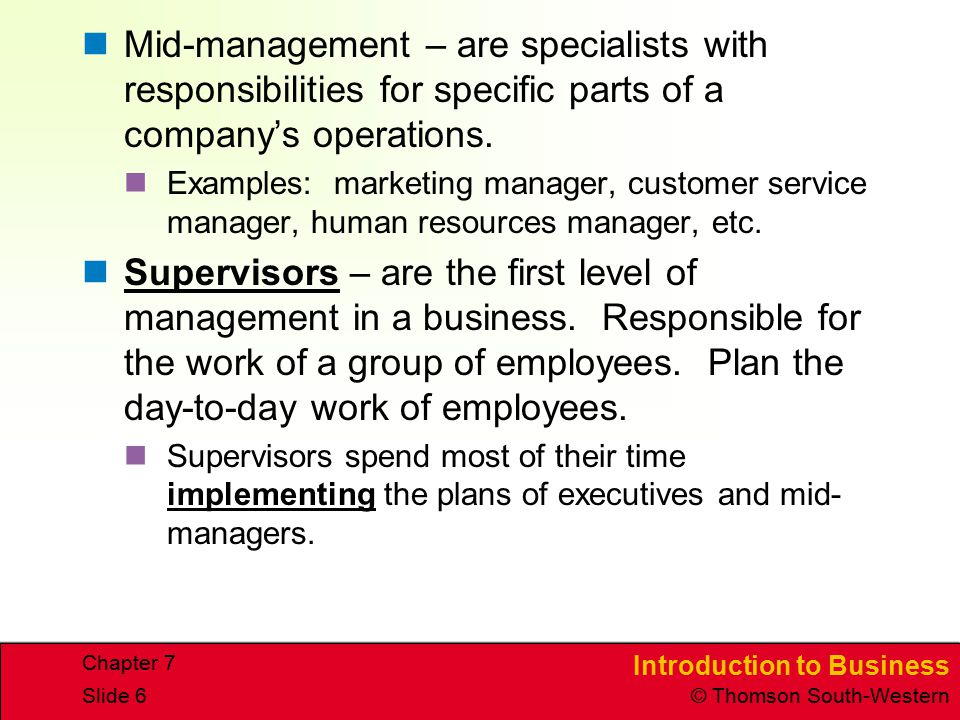 Mid-management – are specialists with responsibilities for specific parts of a company's operations.