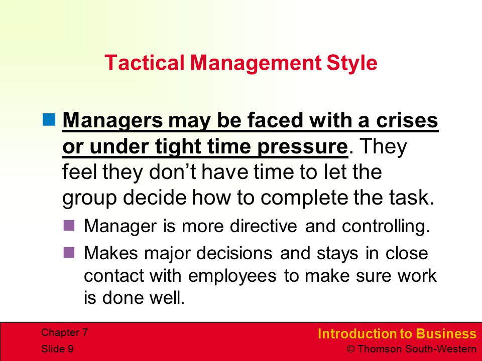 Tactical Management Style