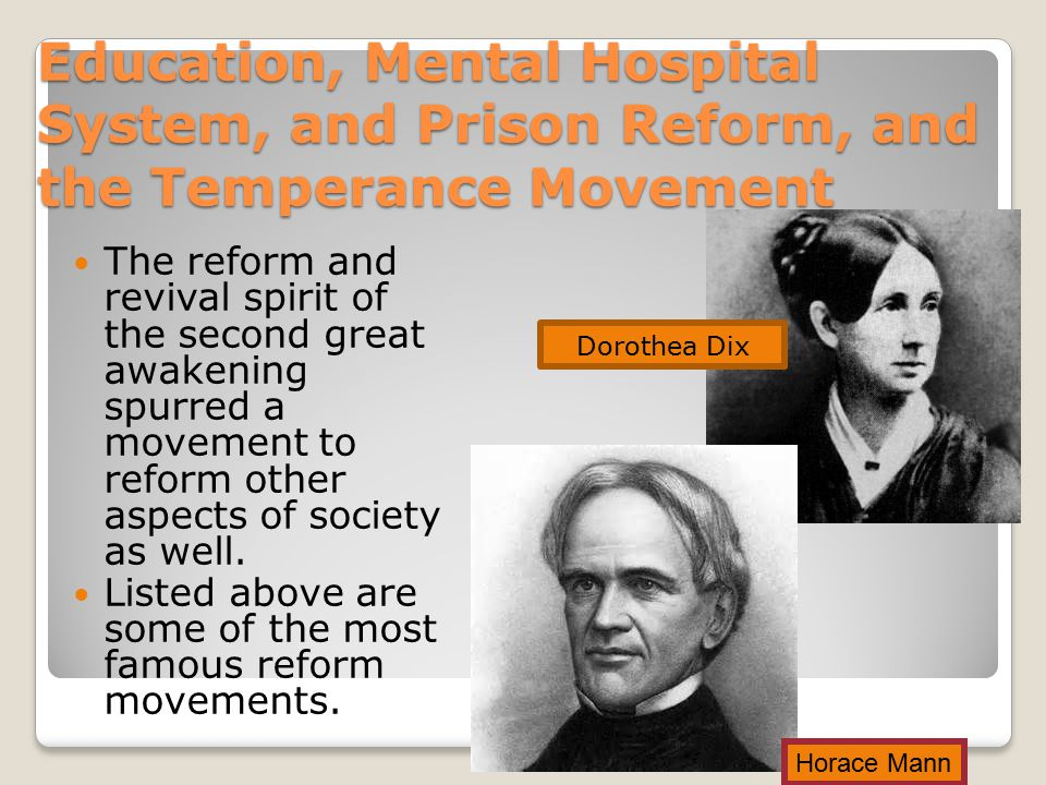 Education, Mental Hospital System, and Prison Reform, and the Temperance Movement