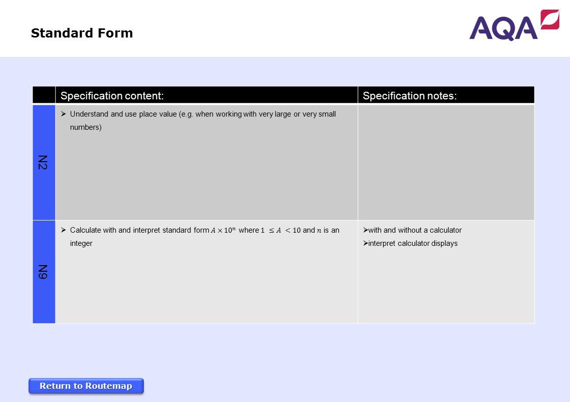 Gcse mathematics 3 year foundation tier routemap 2015 specification 32 standard form falaconquin