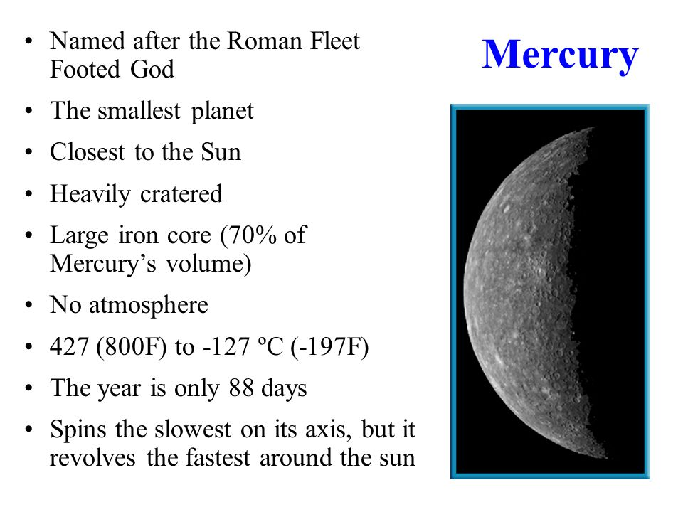 named planets from closest to the sun - photo #17