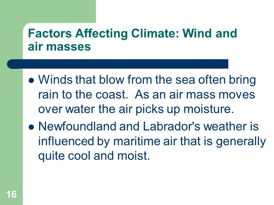 Factors Affecting Climate: Wind and air masses