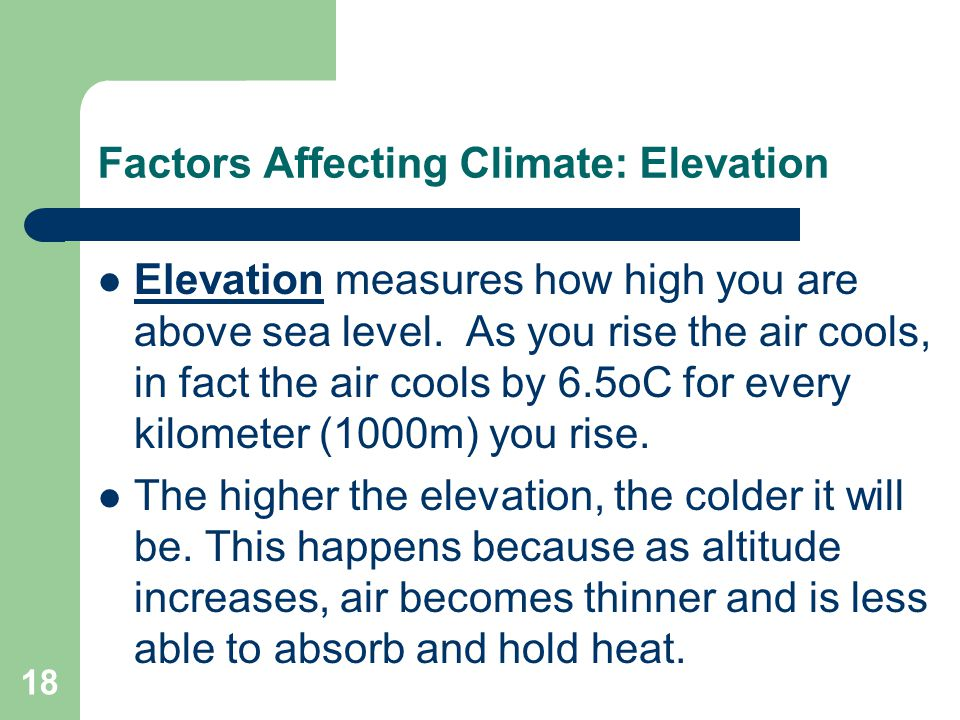 Factors Affecting Climate: Elevation