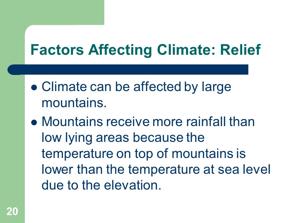 Factors Affecting Climate: Relief