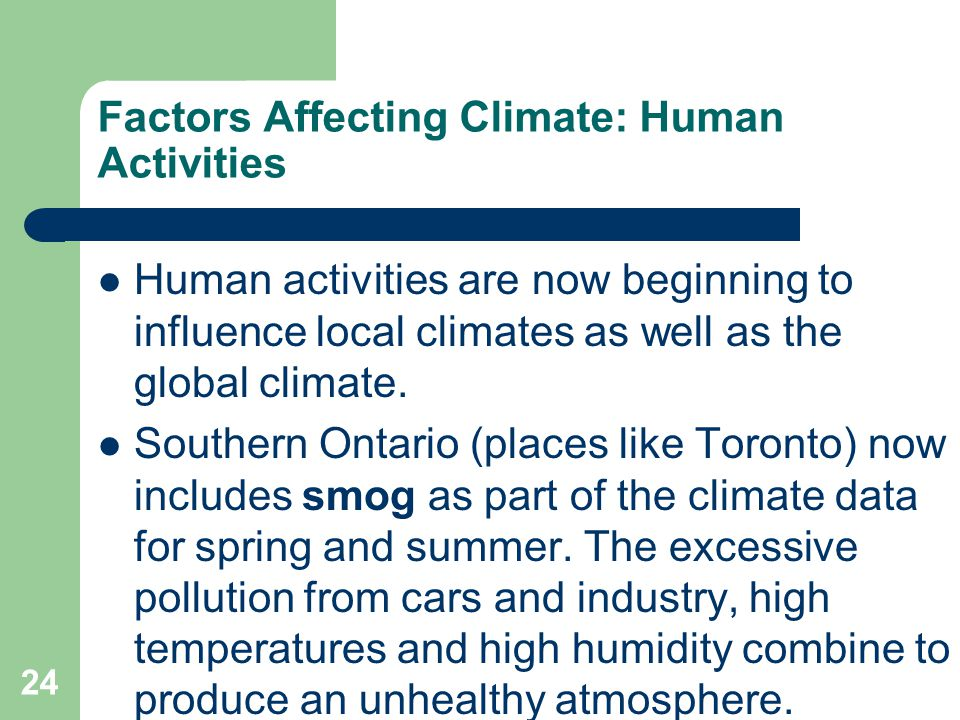 Factors Affecting Climate: Human Activities