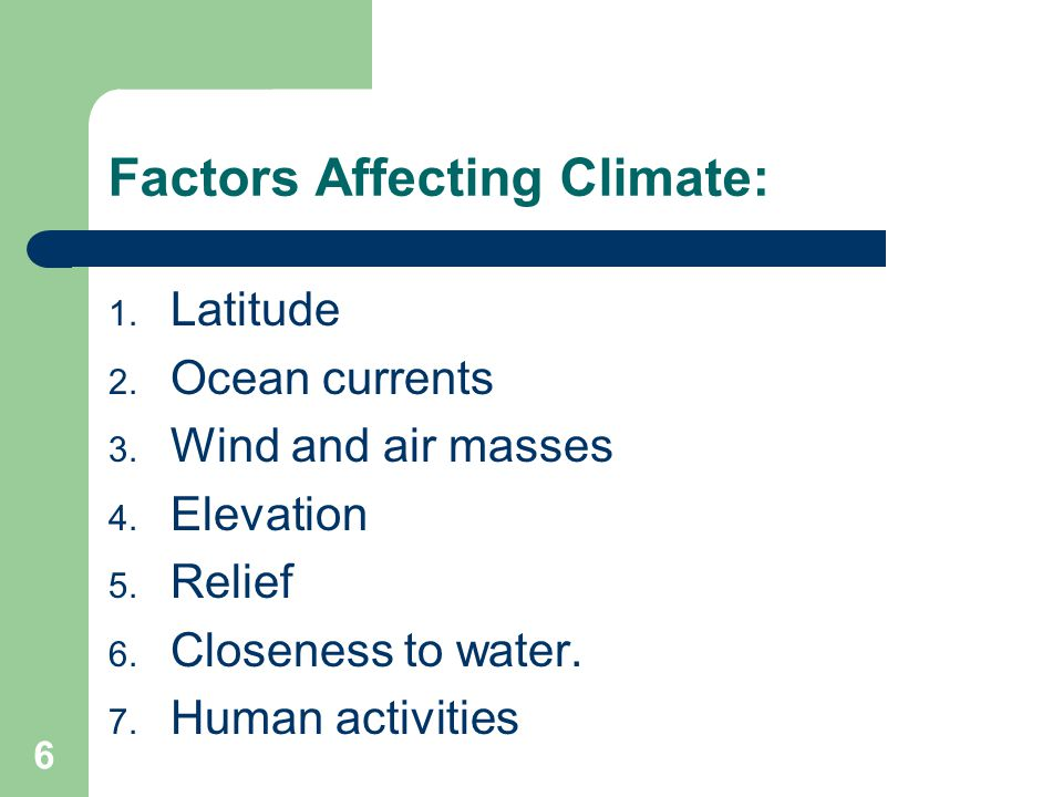 Factors Affecting Climate:
