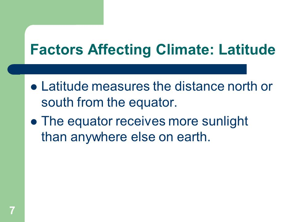 Factors Affecting Climate: Latitude