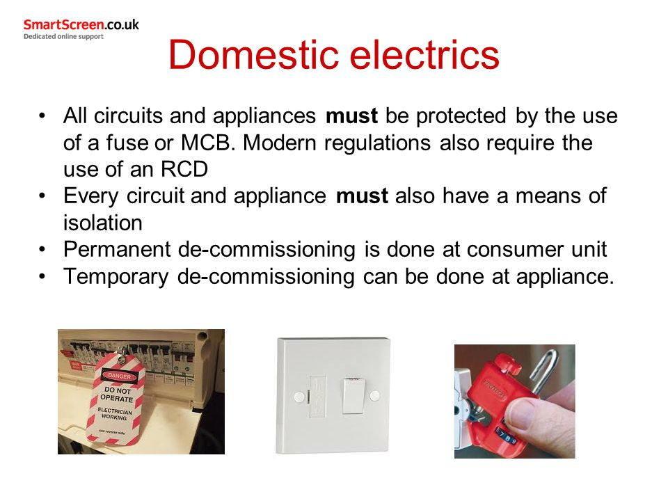 Domestic+electrics+All+circuits+and+appliances+must+be+protected+by+the+use+of+a+fuse+or+MCB.+Modern+regulations+also+require+the+use+of+an+RCD. electrical supplies used in domestic plumbing services ppt video fuse box regulations rental property at gsmx.co