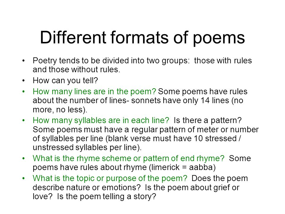 All Types Of Poems