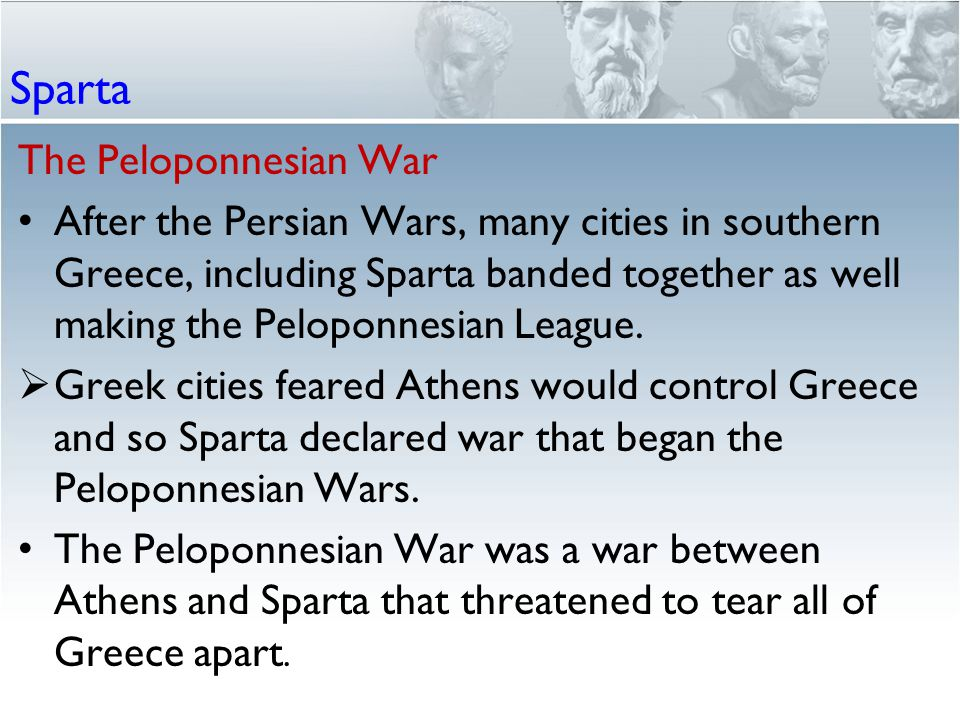 an overview of the peloponnesian war between athens and sparta Athens and its allies, known as the delian league, came into conflict with the spartans and the peloponnesian league, and in 431 bc a war broke out between the two cities - a war based on trade routes, rivalries, and tributes paid by smaller dependent states.