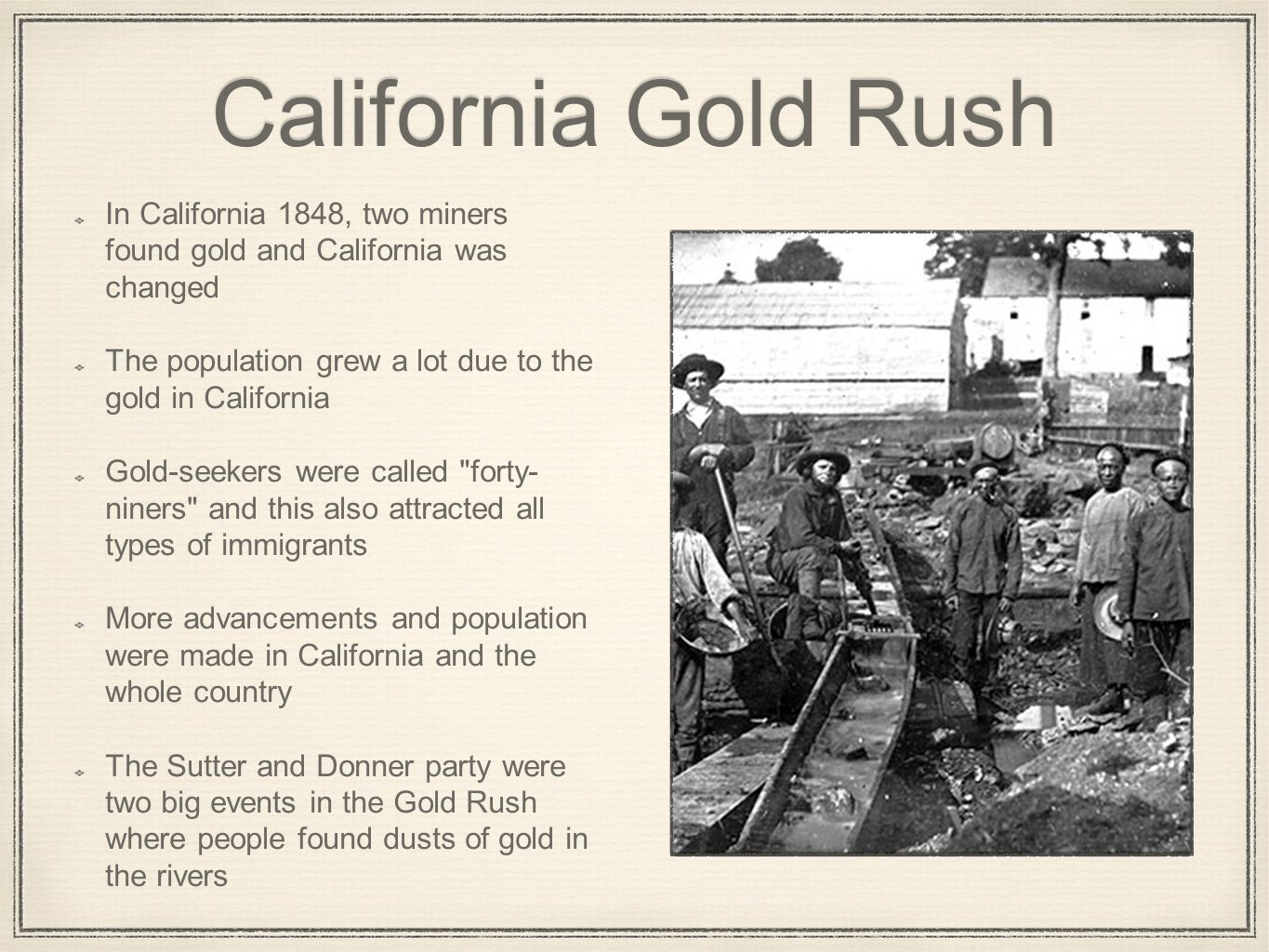 california gold rush Located throughout california, these attractions give a glimpse of california's mining and gold rush era history.