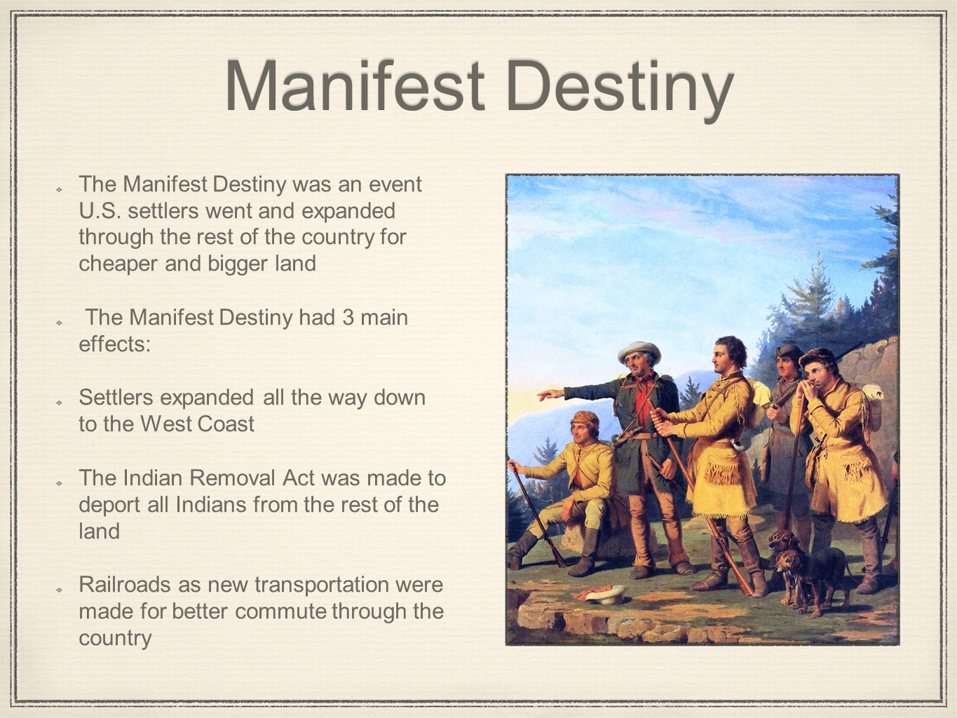 manifest destiny as the most important contributor to american expansion This was the perfect process of expansion that had been the manifest destiny played the most important role in the american west:manifest destiny.