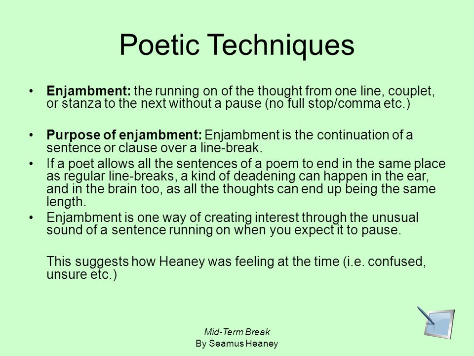 mid term break by seamus heaney mid term break by seamus heaney  24 poetic techniques