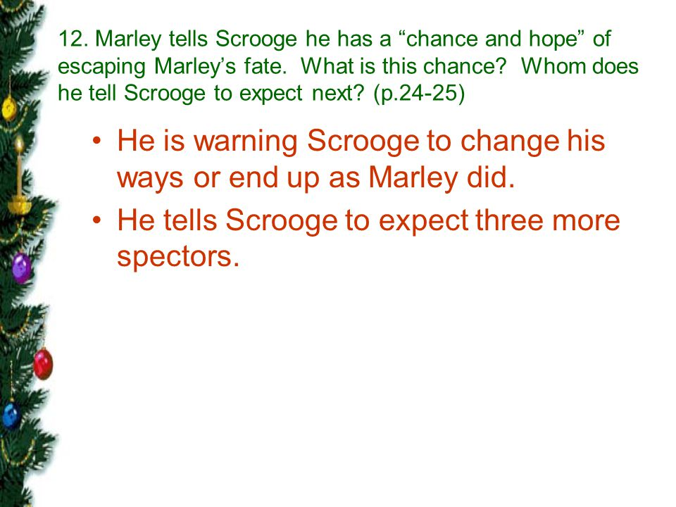 He is warning Scrooge to change his ways or end up as Marley did.