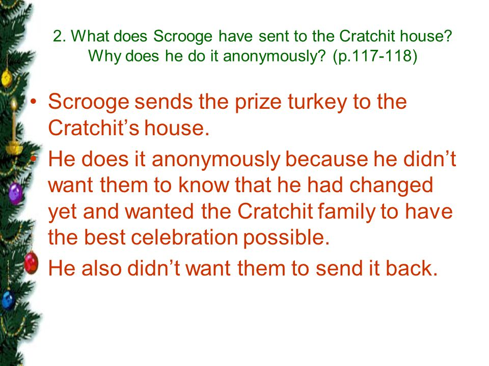 Scrooge sends the prize turkey to the Cratchit's house.