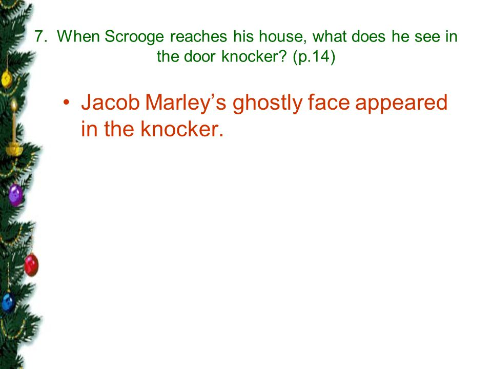 Jacob Marley's ghostly face appeared in the knocker.