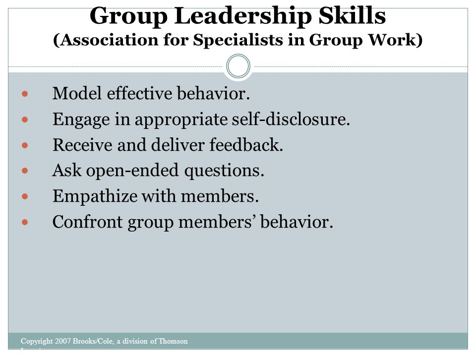effective group leadership skills Leadership and teamwork skills (7)  community and workplace structures require team thinking and group consensus  practice your leadership skills.