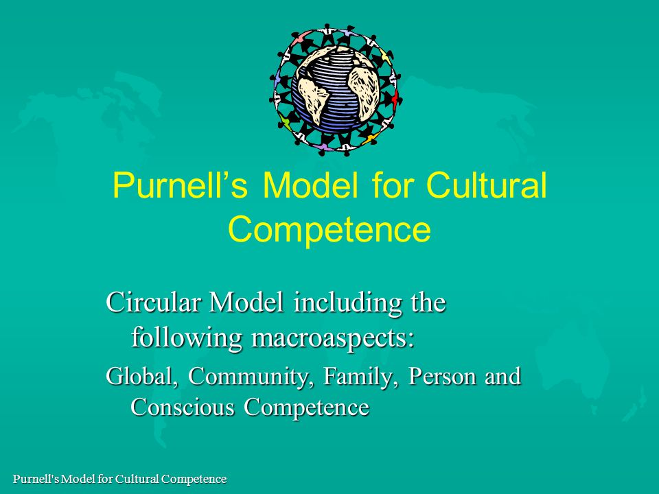 purnell s model of cultural competence This article provides an overview of the purnell model for cultural competence and the assumptions on which the model is based the 12 domains comprising the organizing framework are briefly described along with the primary and secondary characteristics of culture, which determine variations in values, beliefs, and practices of an individual's.