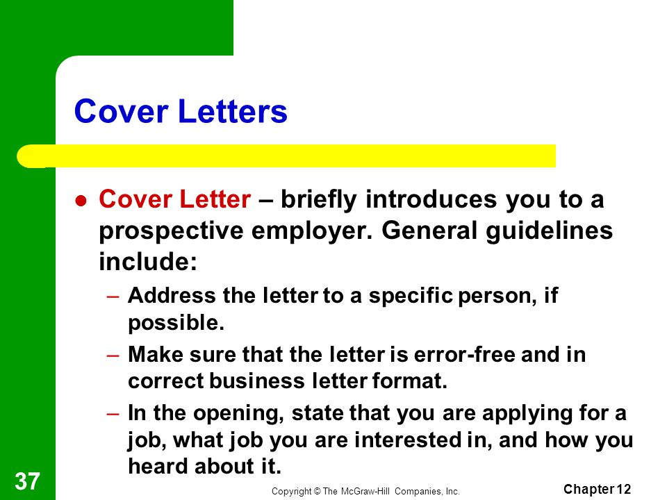 cover letter for potential job opening - chapter 12 employability skills ppt video online download
