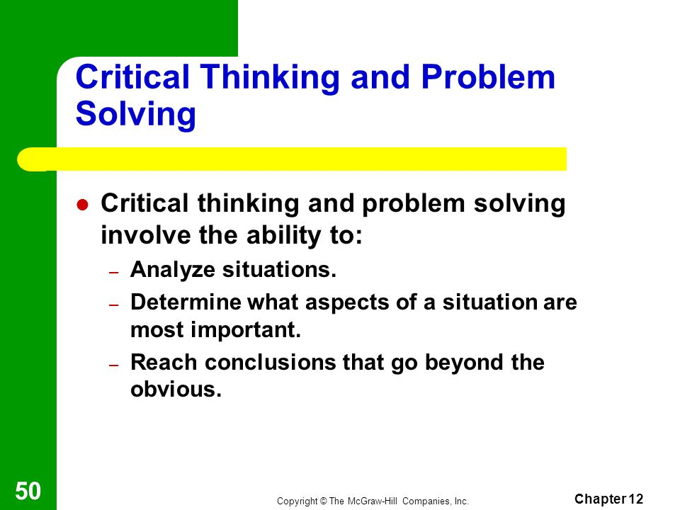 Strategies for Critical Thinking & Problem Solving