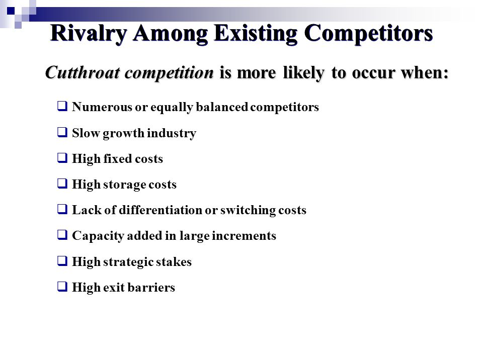 rivalry among the competitors Industry rivalry—or rivalry among existing firms—is one of porter's five forces  used to determine the intensity of competition in an industry.