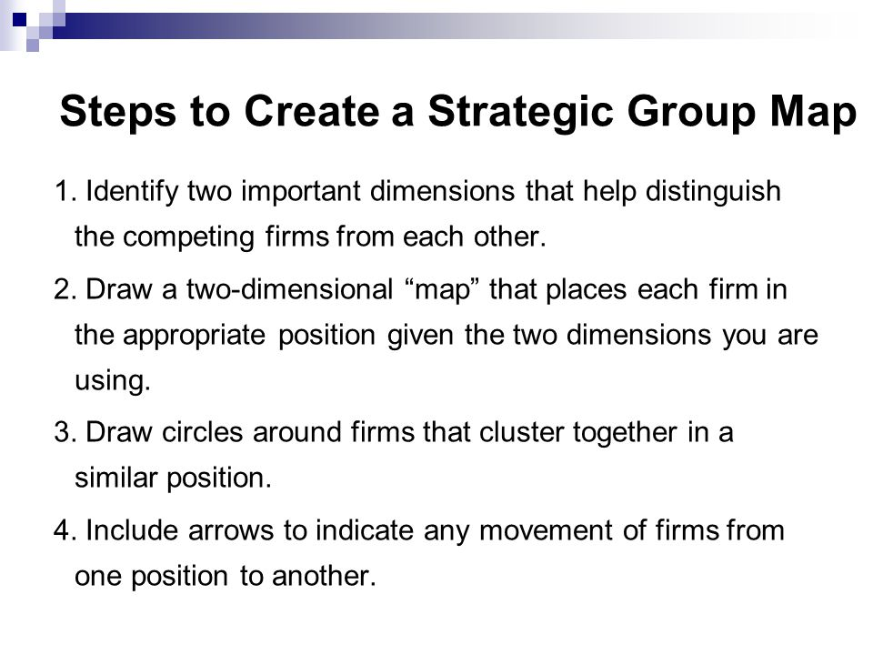 Steps to Create a Strategic Group Map
